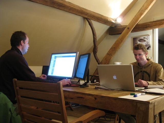 David and Asher working in Belgium